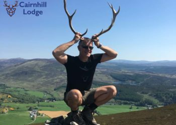 On Mount Blair in Glenisla Scotland with Forter Castle in the background