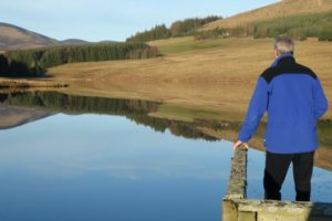 Admiring the view across Loch Shandra