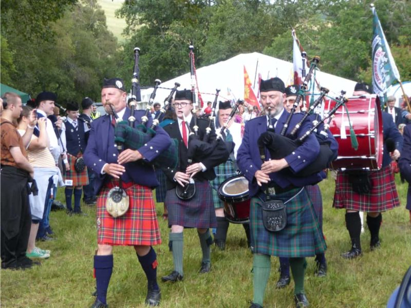 Bagpipe procession at the Glenisla Highland Games