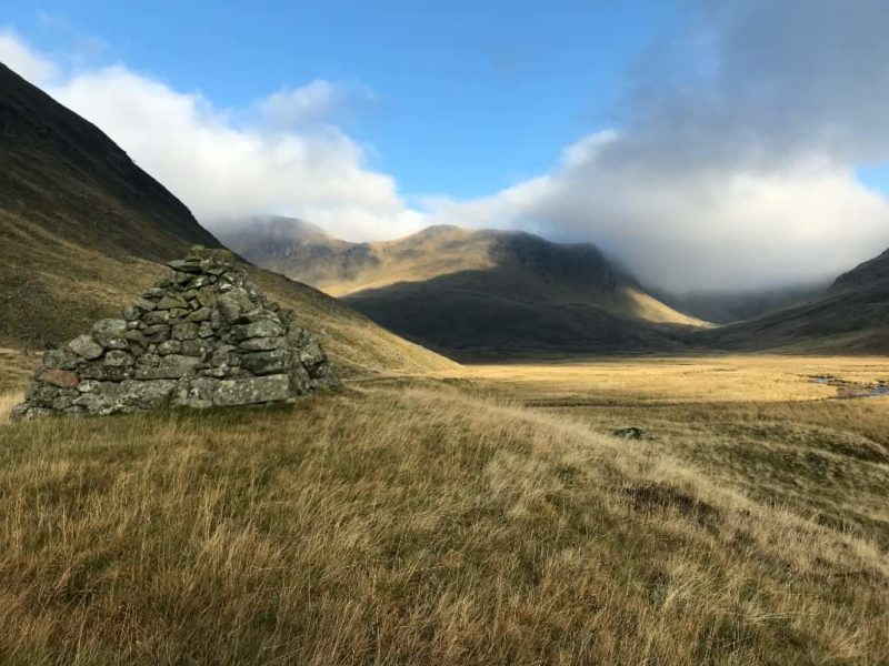 Bessie's Cairn and the high mountains at the top of Glenisla