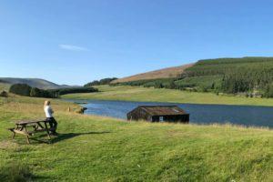 Boat house on Loch Shandra in summer