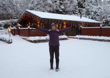 Outside Cairnhill Lodge Glenisla Scotland in deep snow