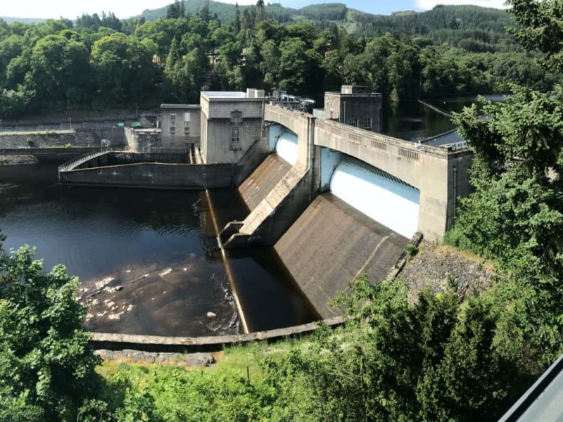 Pitlochry hydro electric dam from visitors centre
