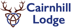 Logo for Cairnhill Lodge in Glenisla features celtic knot with stag antlers and text with the lodge name
