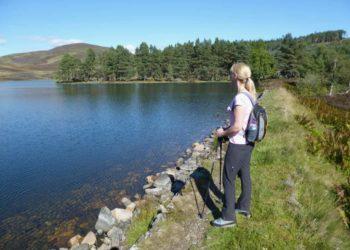 View from the dam on Auchintaple Loch Glenisla Scotland