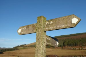 Waymarked signpost on the Cateran Trail