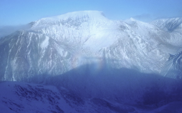Cameron on Sgurr a Mhaim sees his own Brocken spectre cast on the south face of Ben Nevis