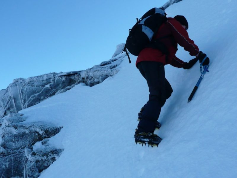 Crampons and ice-axe needed on steep ground