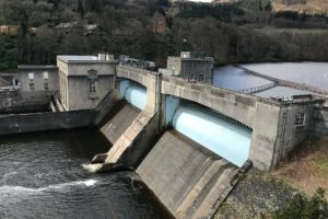 A view over Pitlochry Hydro-Electric Dam from the accompanying visitor centre