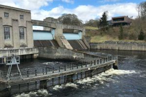 Looking towards the visitor centre from the Pitlochry hydro-electric dam