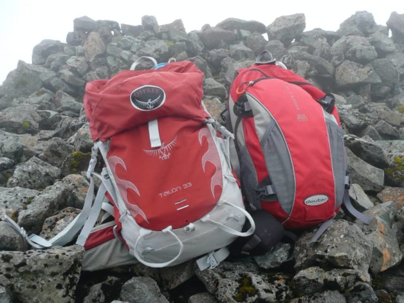 Rucsacks on the summit cairn - we've made it
