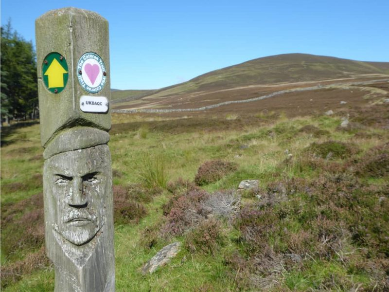 Waymarker for Cateran Trail long-distance footpath
